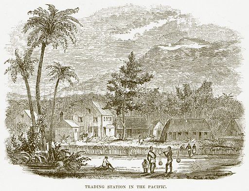 Trading Station in the Pacific. Illustration for Boy Travellers in Australasia by Thomas Knox (Harper, 1889).