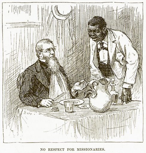 No Respect for Missionaries. Illustration for Boy Travellers in Australasia by Thomas Knox (Harper, 1889).