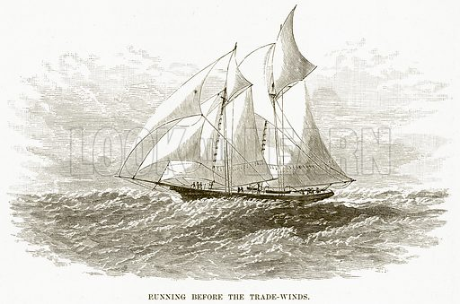 Running before the Trade-Winds. Illustration for Boy Travellers in Australasia by Thomas Knox (Harper, 1889).