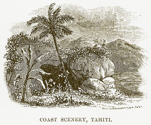 Coast Scenery, Tahiti. Illustration for Boy Travellers in Australasia by Thomas Knox (Harper, 1889).