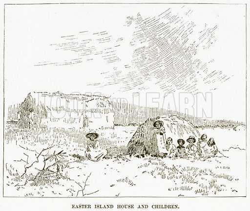Easter Island House and Children. Illustration for Boy Travellers in Australasia by Thomas Knox (Harper, 1889).