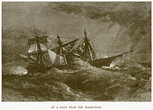 In a Gale near the Marquesas. Illustration for Boy Travellers in Australasia by Thomas Knox (Harper, 1889).