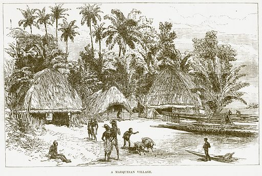 A Marquesan Village. Illustration for Boy Travellers in Australasia by Thomas Knox (Harper, 1889).
