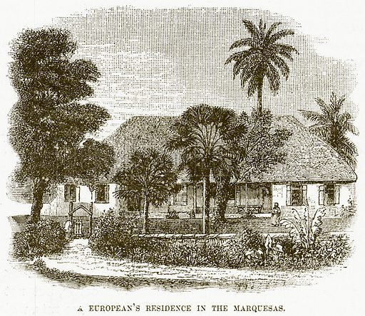 A European's Residence in the Marquesas. Illustration for Boy Travellers in Australasia by Thomas Knox (Harper, 1889).