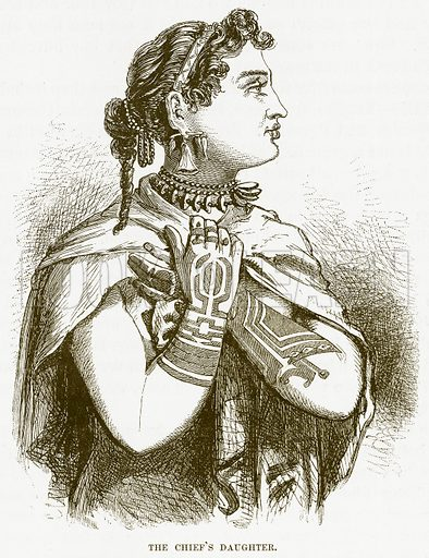 The Chief's Daughter. Illustration for Boy Travellers in Australasia by Thomas Knox (Harper, 1889).