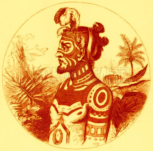 Tattoo Marks on a Chief of the Marquesas. Illustration for Boy Travellers in Australasia by Thomas Knox (Harper, 1889).