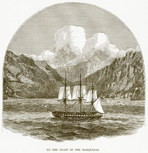 On the Coast of the Marquesas. Illustration for Boy Travellers in Australasia by Thomas Knox (Harper, 1889).