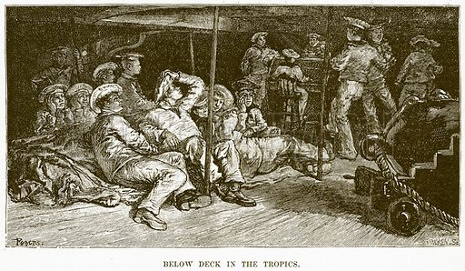 Below Deck in the Tropics. Illustration for Boy Travellers in Australasia by Thomas Knox (Harper, 1889).
