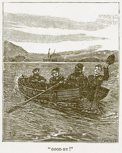 """""""Good-By!"""" Illustration for Boy Travellers in Australasia by Thomas Knox (Harper, 1889)."""