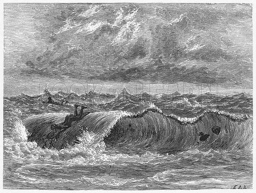 Surf-Bathing at Hilo. Illustration for Boy Travellers in Australasia by Thomas Knox (Harper, 1889).
