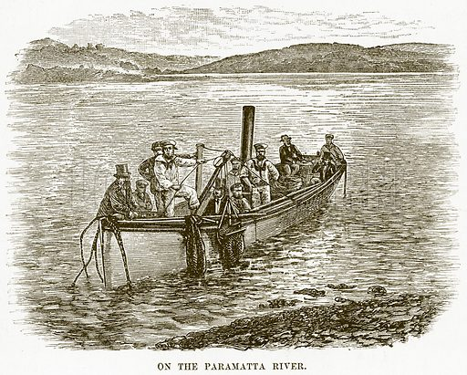 On the Paramatta River. Illustration for Boy Travellers in Australasia by Thomas Knox (Harper, 1889).
