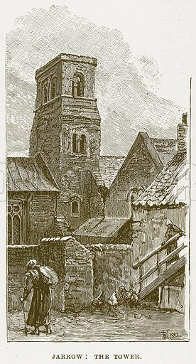 Jarrow: The Tower. Illustration from Cathedrals, Abbeys and Churches by TG Bonney (Cassell, 1891).
