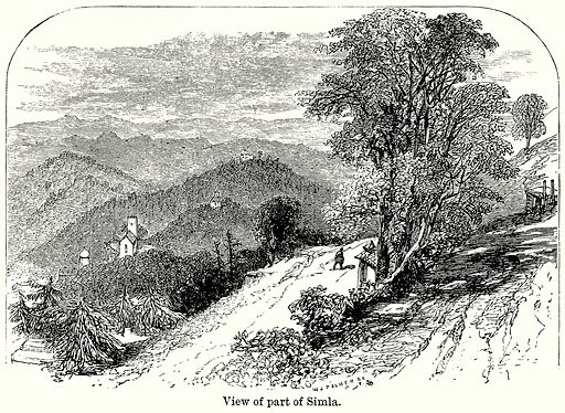 View of Part of Simla. Illustration for Blackie's Modern Cyclopedia (1899).