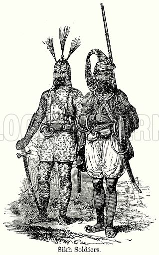 Sikh Soldiers. Illustration for Blackie's Modern Cyclopedia (1899).