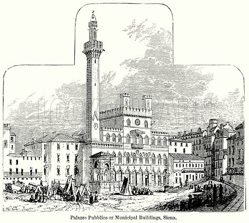 Palazzo Pubblico or Municipal Buildings, Siena. Illustration for Blackie's Modern Cyclopedia (1899).