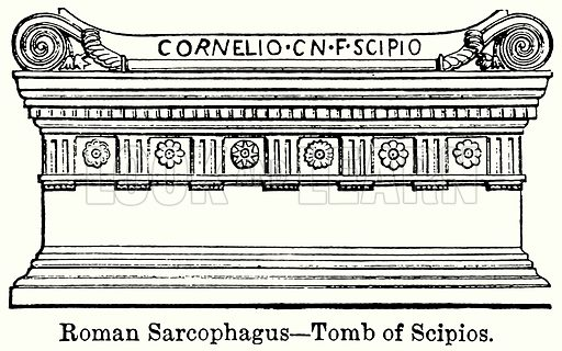 Roman Sarcophagus – Tomb of Scipios. Illustration for Blackie's Modern Cyclopedia (1899).