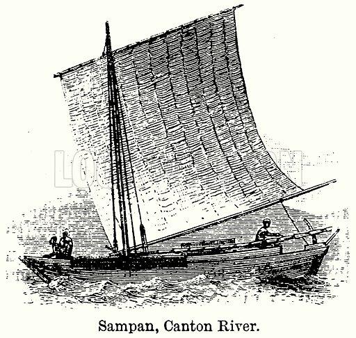 Sampan, Canton River. Illustration for Blackie's Modern Cyclopedia (1899).