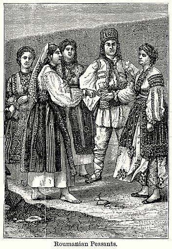 Roumanian Peasants. Illustration for Blackie's Modern Cyclopedia (1899).