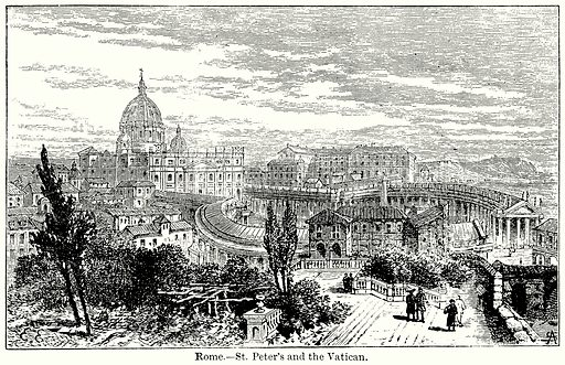 Rome. – St Peter's and the Vatican. Illustration for Blackie's Modern Cyclopedia (1899).
