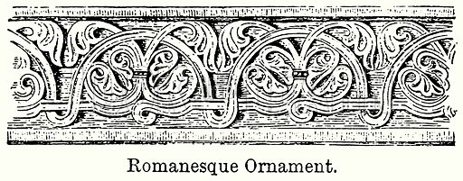 Romanesque Ornament. Illustration for Blackie's Modern Cyclopedia (1899).