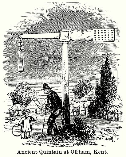 Ancient Quintain at Offham, Kent. Illustration for Blackie's Modern Cyclopedia (1899).
