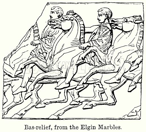 Bas-Relief, from the Elgin Marbles. Illustration for Blackie's Modern Cyclopedia (1899).