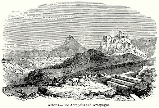Athens.--The Acropolis and Areopagus. Illustration for Blackie's Modern Cyclopedia (1899).