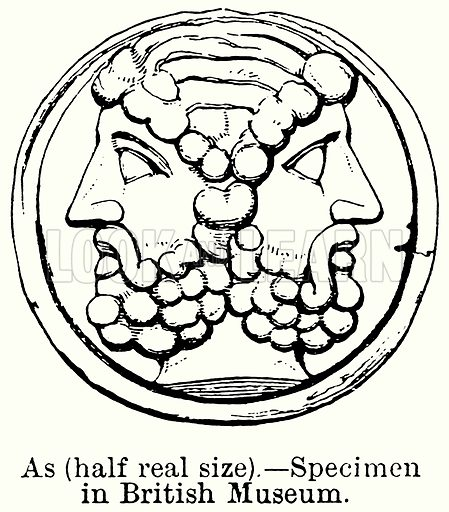 As (Half Real Size). – Specimen in British Museum. Illustration for Blackie's Modern Cyclopedia (1899).