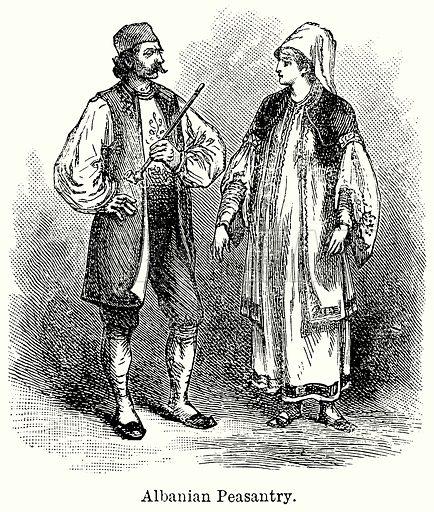 Albanian Peasantry. Illustration for Blackie's Modern Cyclopedia (1899).