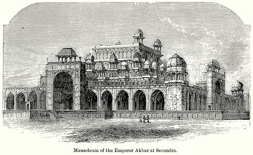Mausoleum of the Emperor Akbar at Secundra. Illustration for Blackie's Modern Cyclopedia (1899).