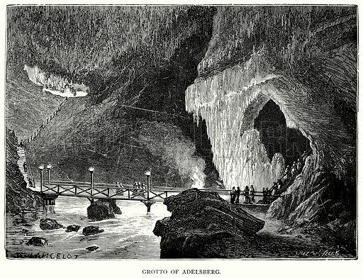 Grotto of Adelsberg. Illustration for Blackie's Modern Cyclopedia (1899).