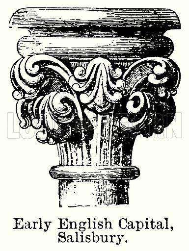 Early English Capital, Salisbury. Illustration for Blackie's Modern Cyclopedia (1899).