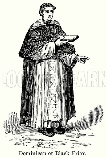 Dominican or Black Friar. Illustration for Blackie's Modern Cyclopedia (1899).