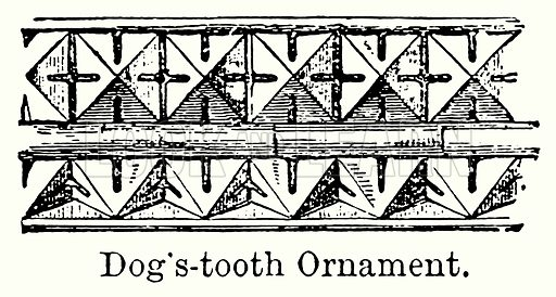 Dog's-Tooth Ornament. Illustration for Blackie's Modern Cyclopedia (1899).