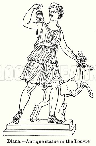 Diana. – Antique Statue in the Louvre. Illustration for Blackie's Modern Cyclopedia (1899).