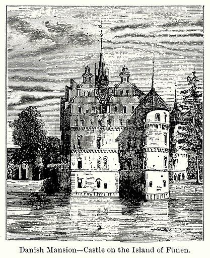 Danish Mansion – Castle on the Island of Funen. Illustration for Blackie's Modern Cyclopedia (1899).