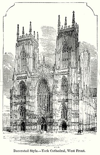 Decorated Style. – York Cathedral, West Front. Illustration for Blackie's Modern Cyclopedia (1899).
