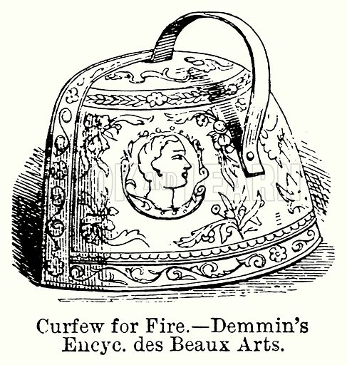 Curfew for Fire. – Demmin's Encyc. des Beaux Arts. Illustration for Blackie's Modern Cyclopedia (1899).