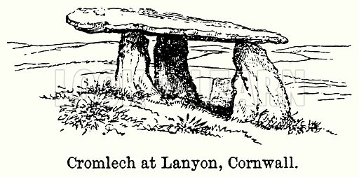 Cromlech at Lanyon, Cornwall. Illustration for Blackie
