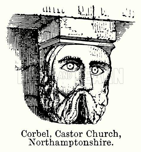Corbel, Castor Church, Northamptonshire. Illustration for Blackie's Modern Cyclopedia (1899).