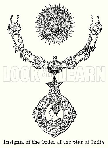 Insignia of the Order of the Star of India. Illustration for Blackie's Modern Cyclopedia (1899).