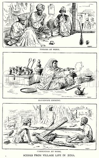 Scenes from Village Life in India. Tailors at Work. Housewife Cooking. Carpenters at Work. Illustration for Blackie's Modern Cyclopedia (1899).