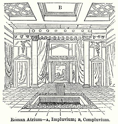 Roman Atrium--A, Impluvium; B, Compluvium. Illustration for Blackie's Modern Cyclopedia (1899).