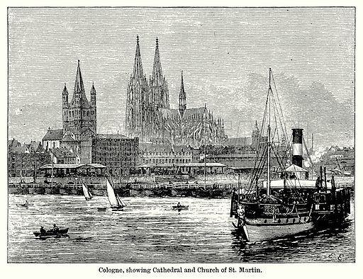 Cologne, showing Cathedral and Church of St Martin. Illustration for Blackie's Modern Cyclopedia (1899).
