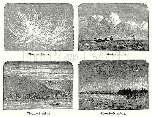 Clouds. Cloud – Cirrus. Cloud – Cumulus. Cloud – Stratus. Cloud – Nimbus. Illustration for Blackie's Modern Cyclopedia (1899).