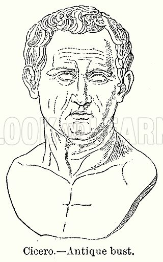 Cicero. – Antique Bust. Illustration for Blackie's Modern Cyclopedia (1899).