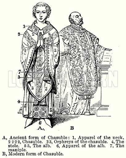 Chasuble. A, Ancient Form of Chasuble: 1, Apparel of the Neck, 2 2 2 2, Chasuble. 3 3, Orphreys of the Chasuble. 4, The Stole. 5 5, The Alb. 6, Apparel of the Alb. 7, The Maniple. B, Modern Form of Chasuble. Illustration for Blackie