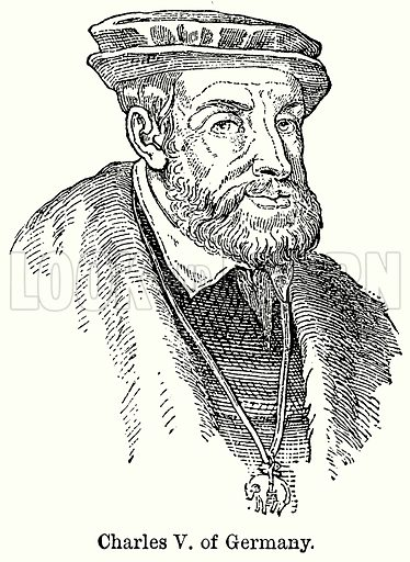 Charles V of Germany. Illustration for Blackie's Modern Cyclopedia (1899).