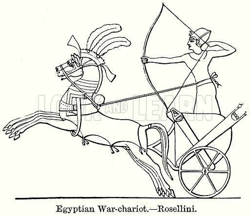 Egyptian War-Chariot. – Rosellini. Illustration for Blackie's Modern Cyclopedia (1899).