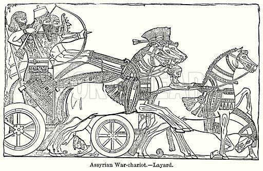 Assyrian War-Chariot.--Layard. Illustration for Blackie's Modern Cyclopedia (1899).